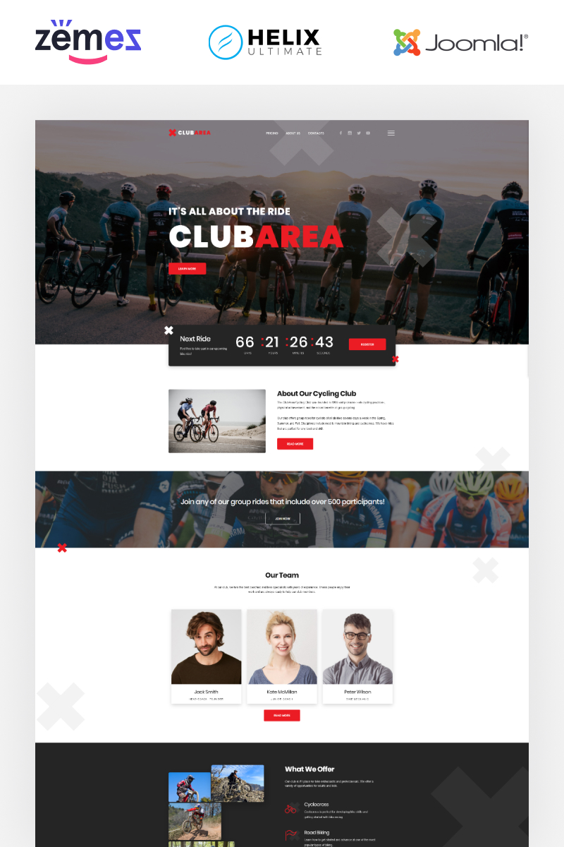 """Club Area - Cycling Club Creative"" - адаптивний Joomla шаблон №89255"