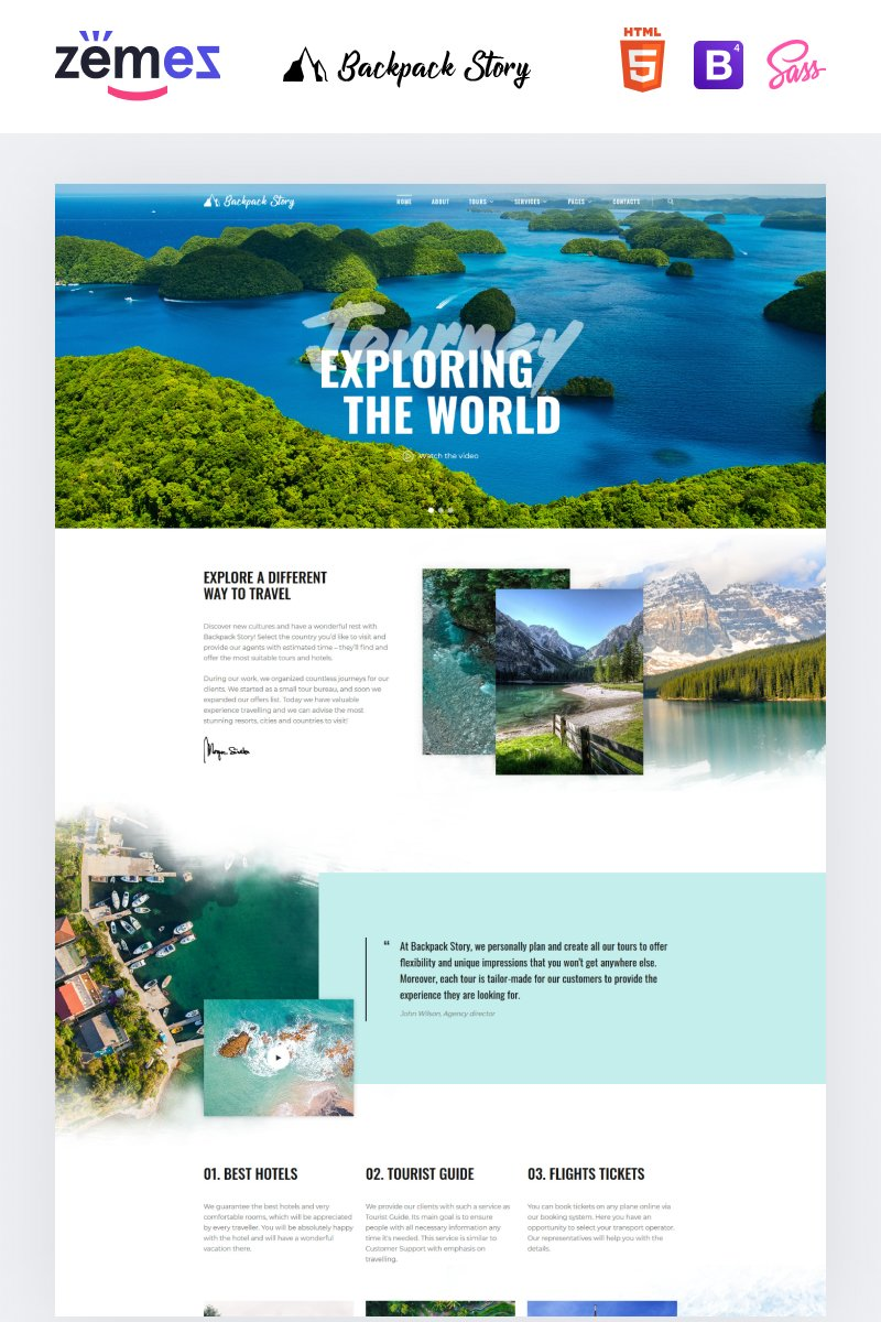 "Modello Siti Web Responsive #89231 ""Backpack Story - Online Travel Agency Template"""