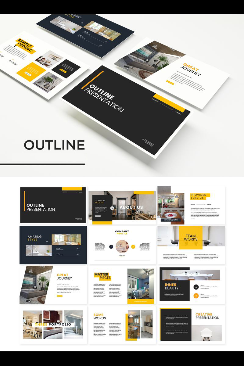 """Outline"" Keynote Template №89225"