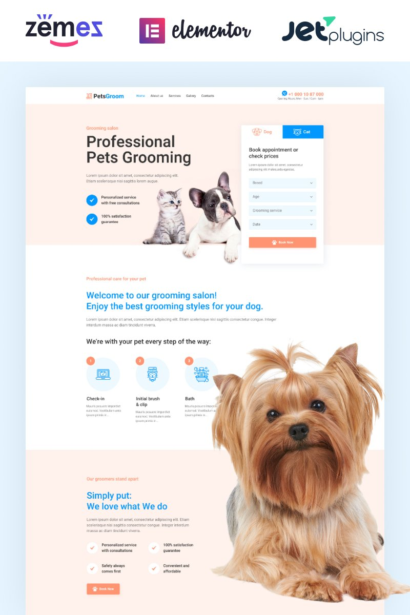 """PetsGroom - Dog & Cat Grooming"" thème WordPress adaptatif #89254"