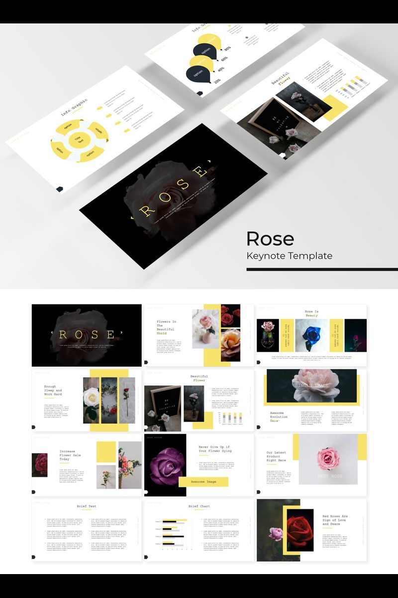 """Rose"" Keynote Template №89227"
