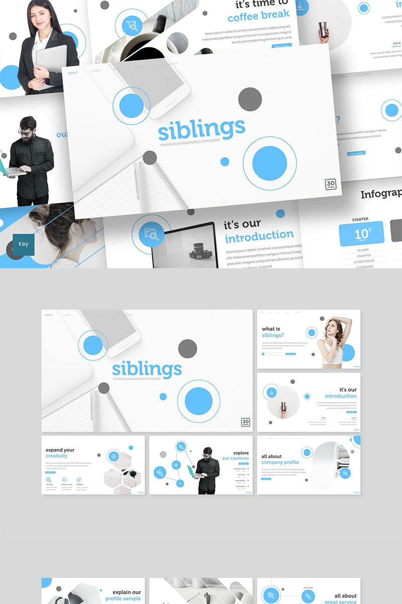 """Siblings"" Keynote Template №89221"