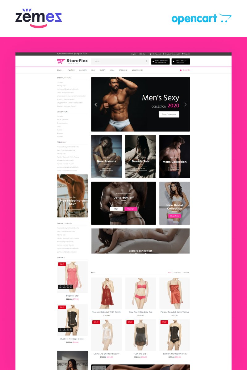 """StoreFlex Lingerie Website Template for Underwear Shop"" - OpenCart шаблон №89210"