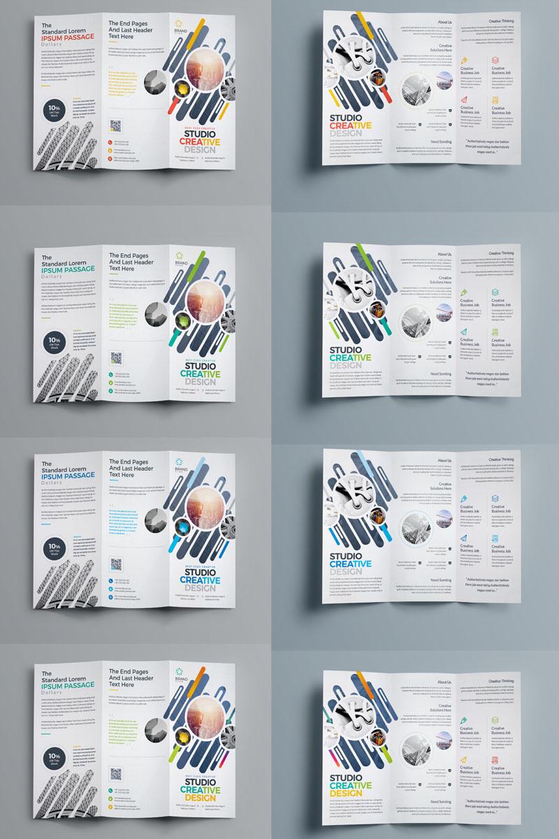 Szablon tożsamości korporacyjnej Blue Matt Color Tri-Fold Brochure Design #89207