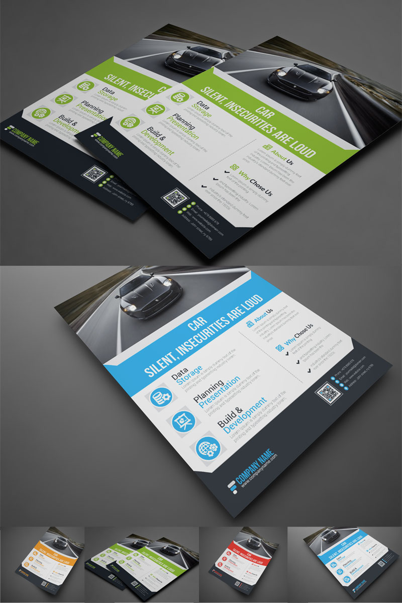 Szablon tożsamości korporacyjnej Green Color Creativity Branding Flyer #89209