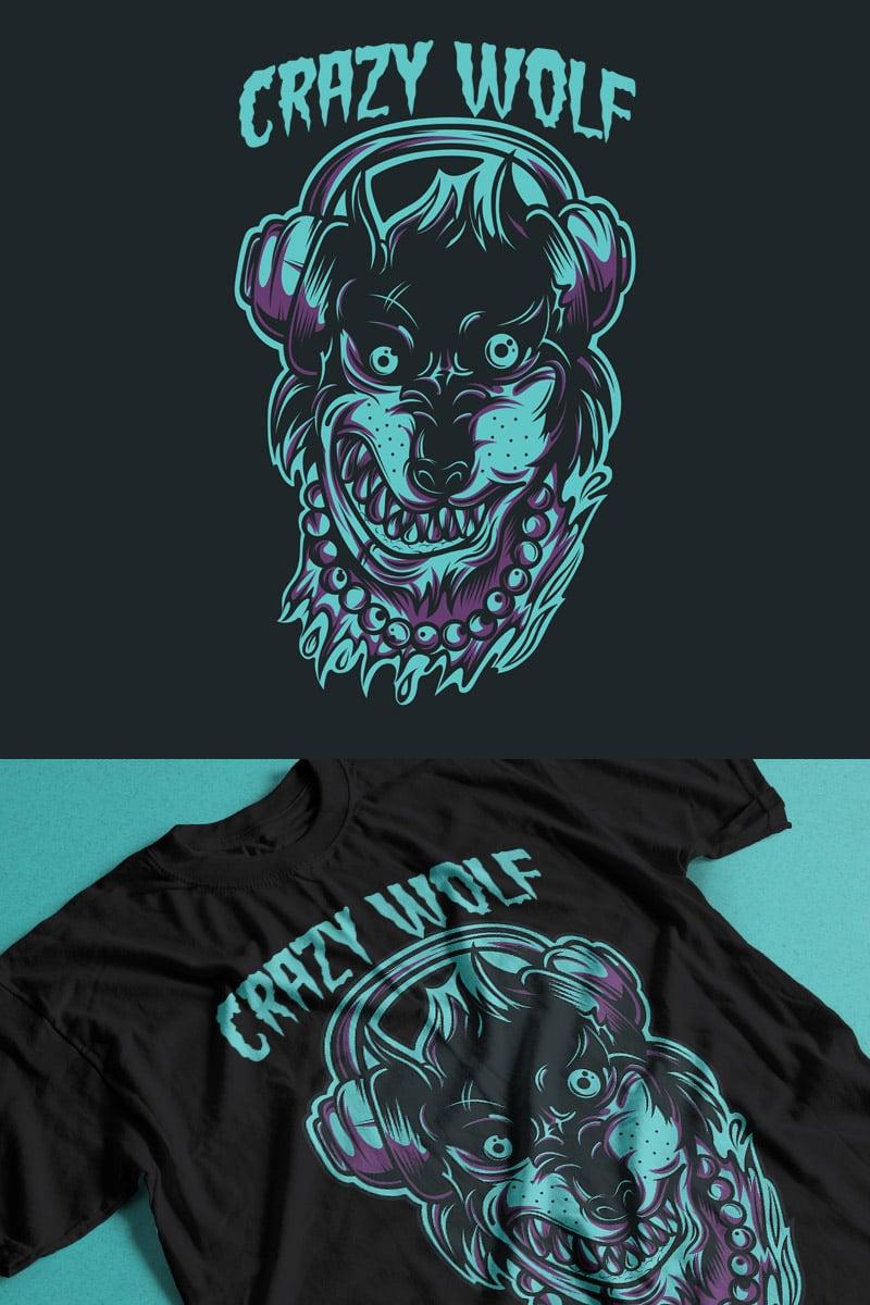 """T-shirt """"Crazy Wolf"""" #89206"""