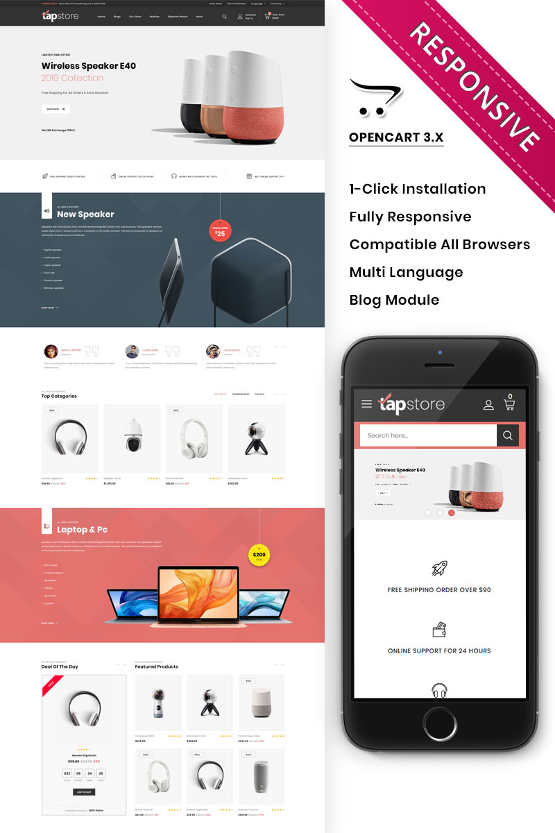 Tapstore - The Electronic Store Template OpenCart №89233