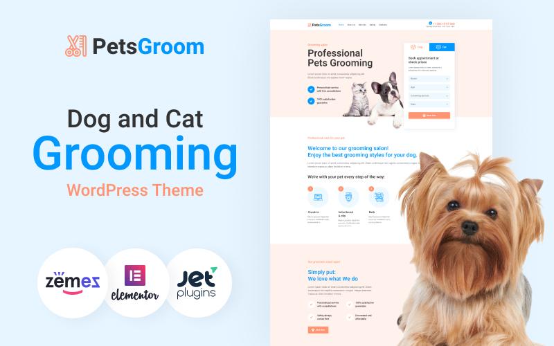 "Tema De WordPress ""PetsGroom - Dog & Cat Grooming"" #89254"