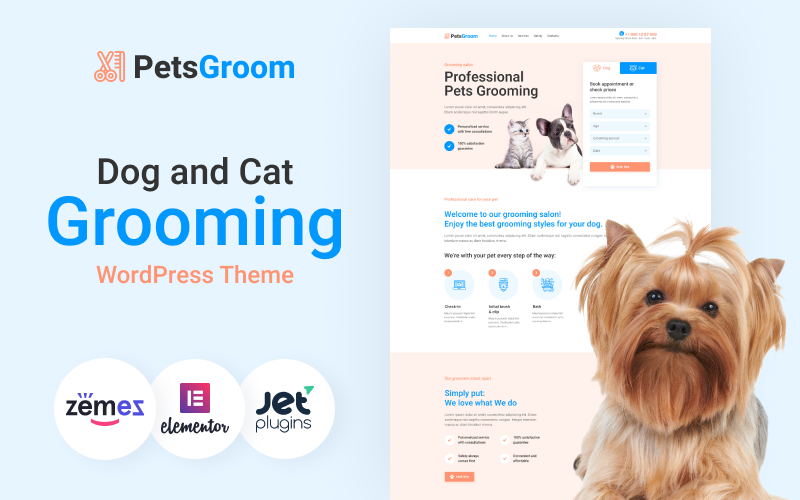 "Template WordPress Responsive #89254 ""PetsGroom - Dog & Cat Grooming"""