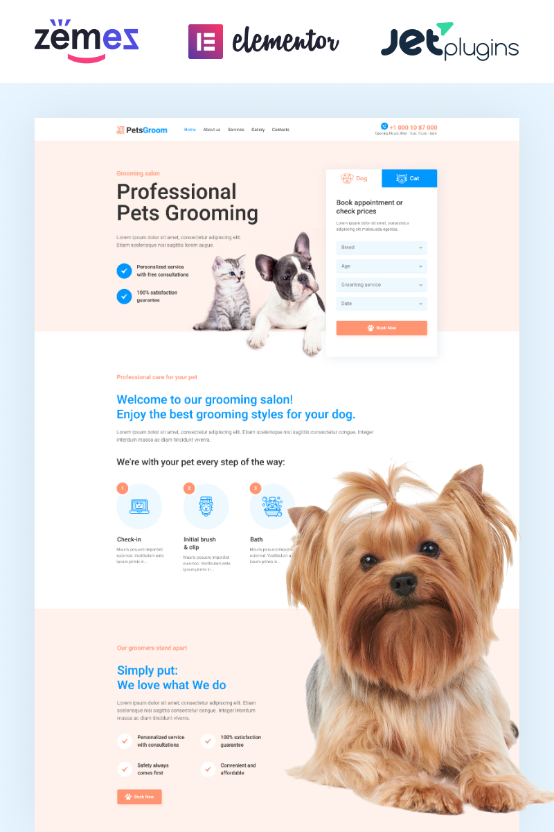 "Template WordPress Responsive #89254 ""PetsGroom - Dog & Cat Grooming"""