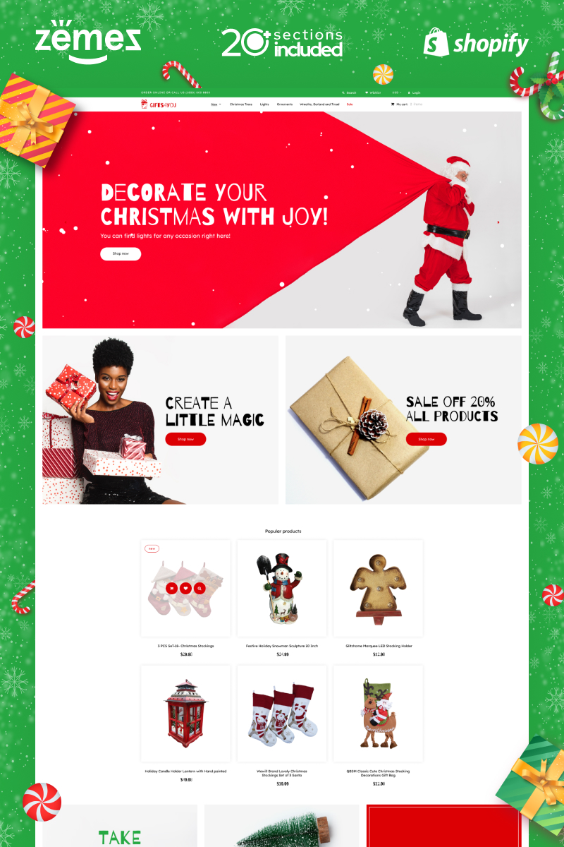 Christmas Gifts Store Tema de Shopify №89307 - captura de tela