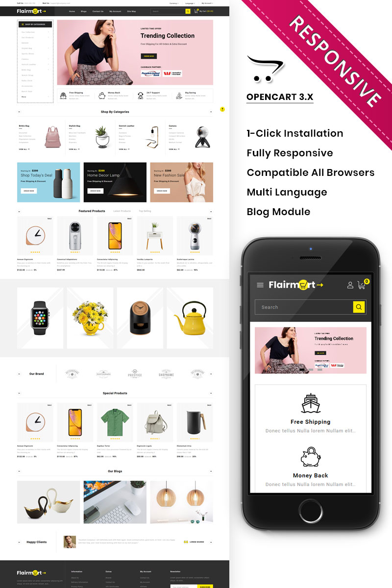 """Flairmart - The Mega Store"" Responsive OpenCart Template №89311"