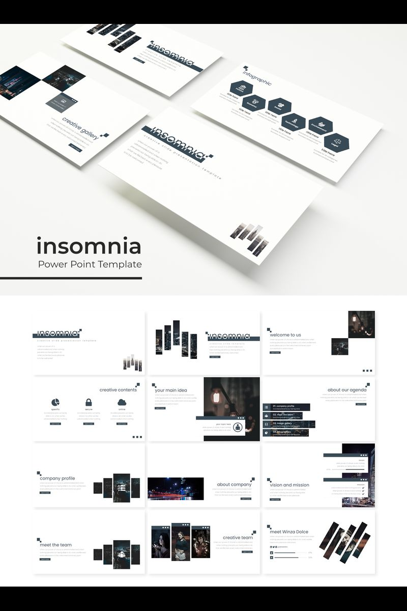 """Insomnia"" PowerPoint Template №89371"
