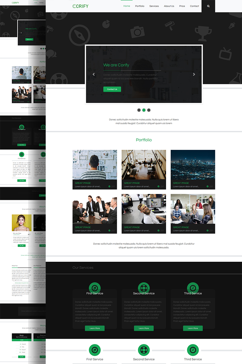 "Landing Page Template namens ""Corify - Multipurpose Modern Bootstrap"" #89310"