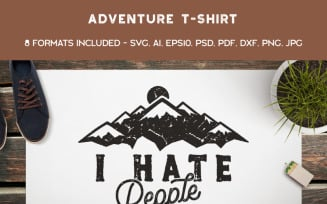Mountain Conqueror, I Hate People - T-shirt Design