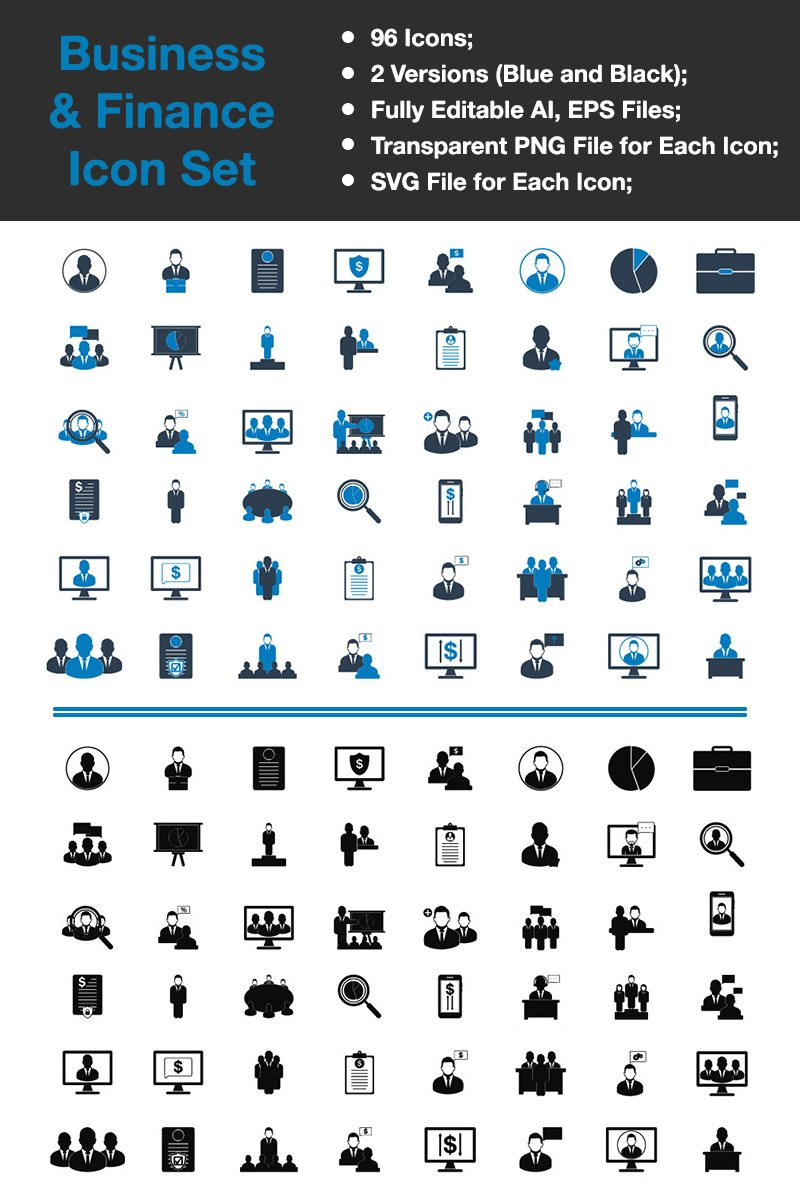 "Plantilla De Conjunto De Iconos ""Business & Finance - Premium Vector"" #89335"