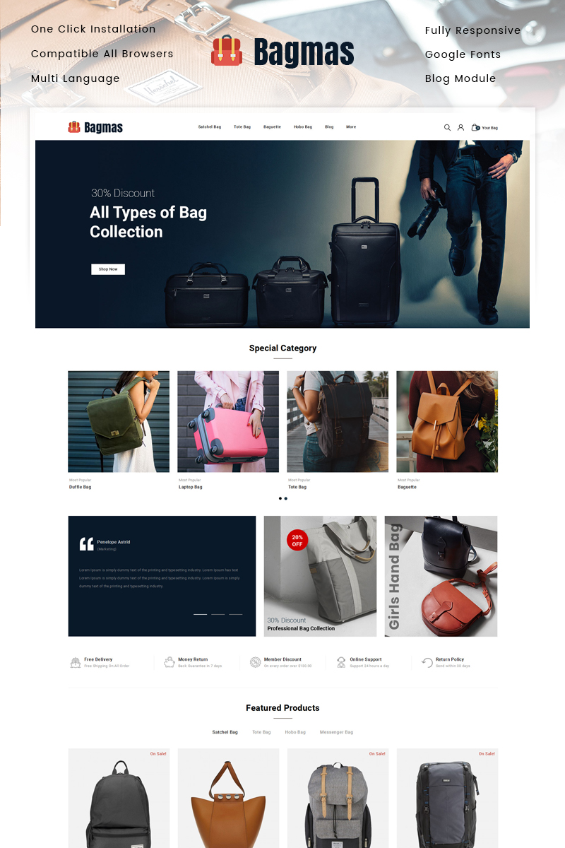 "PrestaShop Theme namens ""Bagmas Bag Store"" #89334"