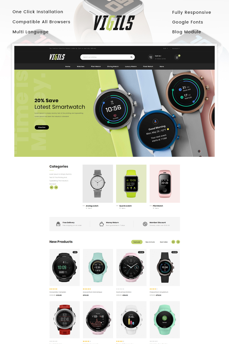Responsivt Vigils - Smart Watch Store PrestaShop-tema #89309
