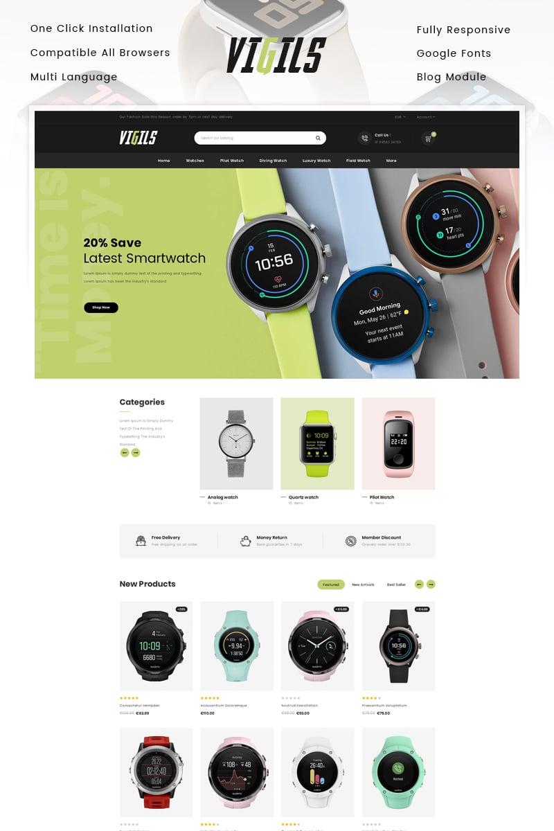 Responsivt Vigils - Smart Watch Store PrestaShop-tema #89309 - skärmbild