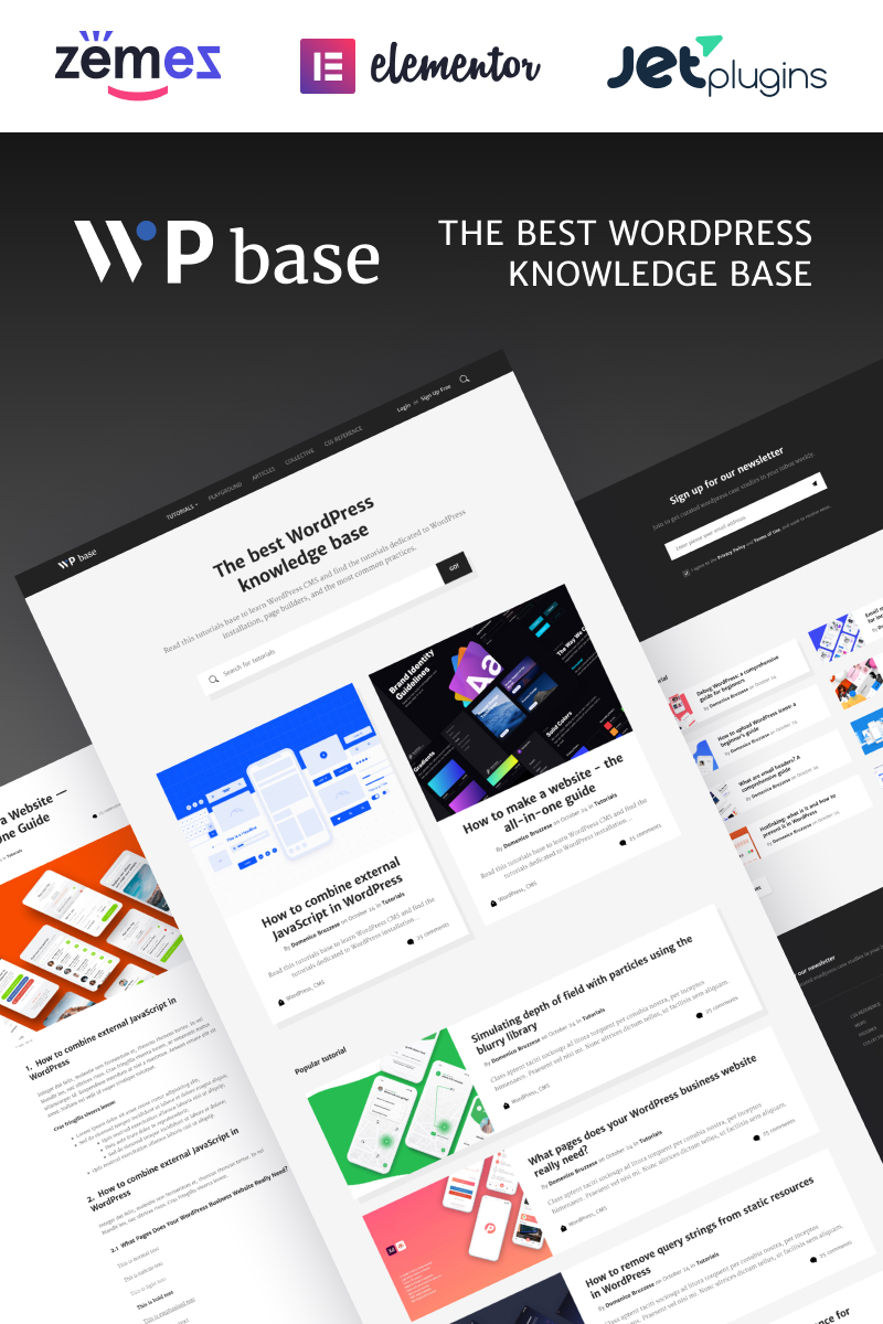 Responsivt WPbase - WordPress Tutorial Theme WordPress-tema #89336