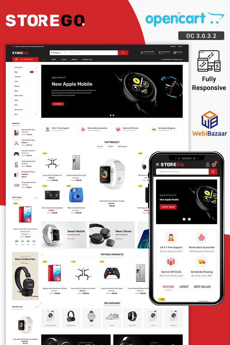 Reszponzív StoreGo Electronic OpenCart sablon 89333