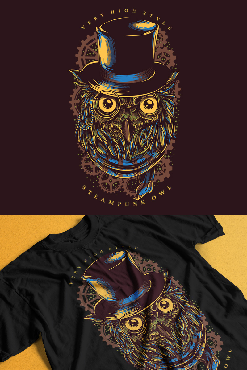 """Steampunk Owl"" T-shirt #89303"