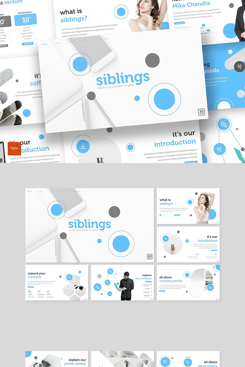 Szablon PowerPoint Siblings #89321