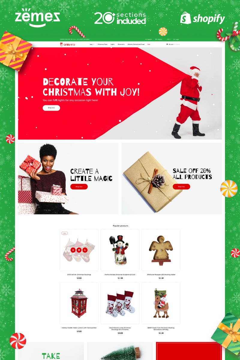 "Tema Shopify ""Christmas Gifts Store"" #89307"