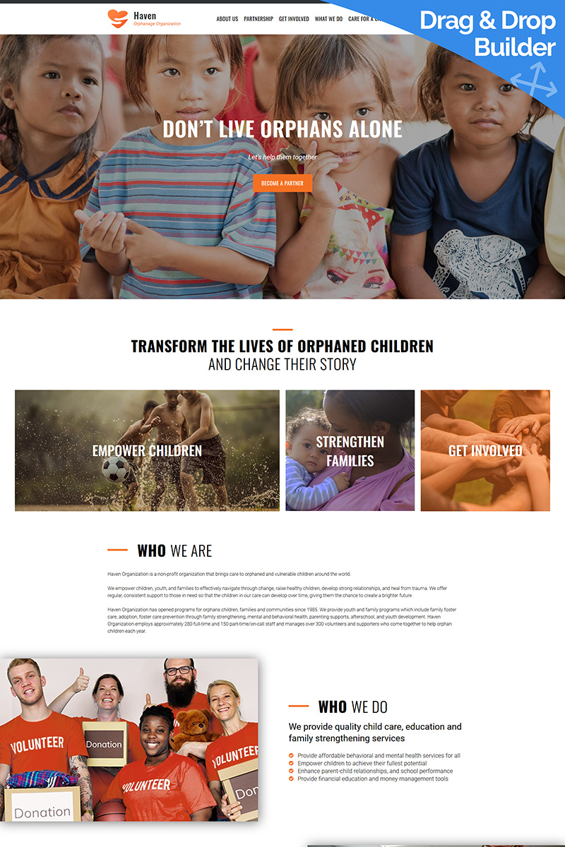 """Haven - Orphanage Organization"" Responsive Moto CMS 3 Template №89465"