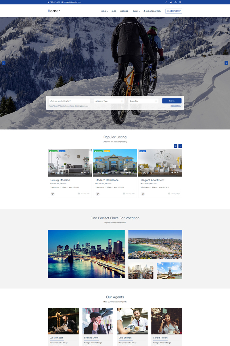 Homer - Booking HTML5 Tempalte Template Web №89487