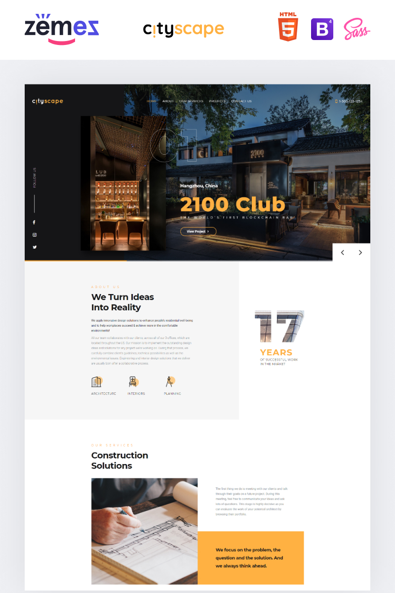 "Landing Page Template namens ""Cityscape - Construction Company Design"" #89464"