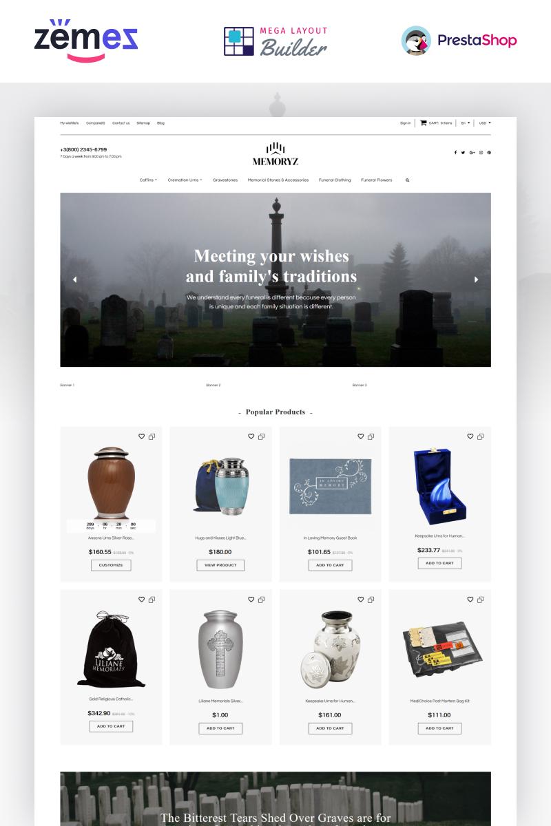 """""""MemoryZ  - Funeral Service Online"""" thème PrestaShop adaptatif #89400"""