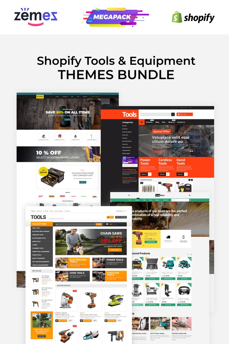 "Modello Shopify #89486 ""Tools Store Templates Bundle"""