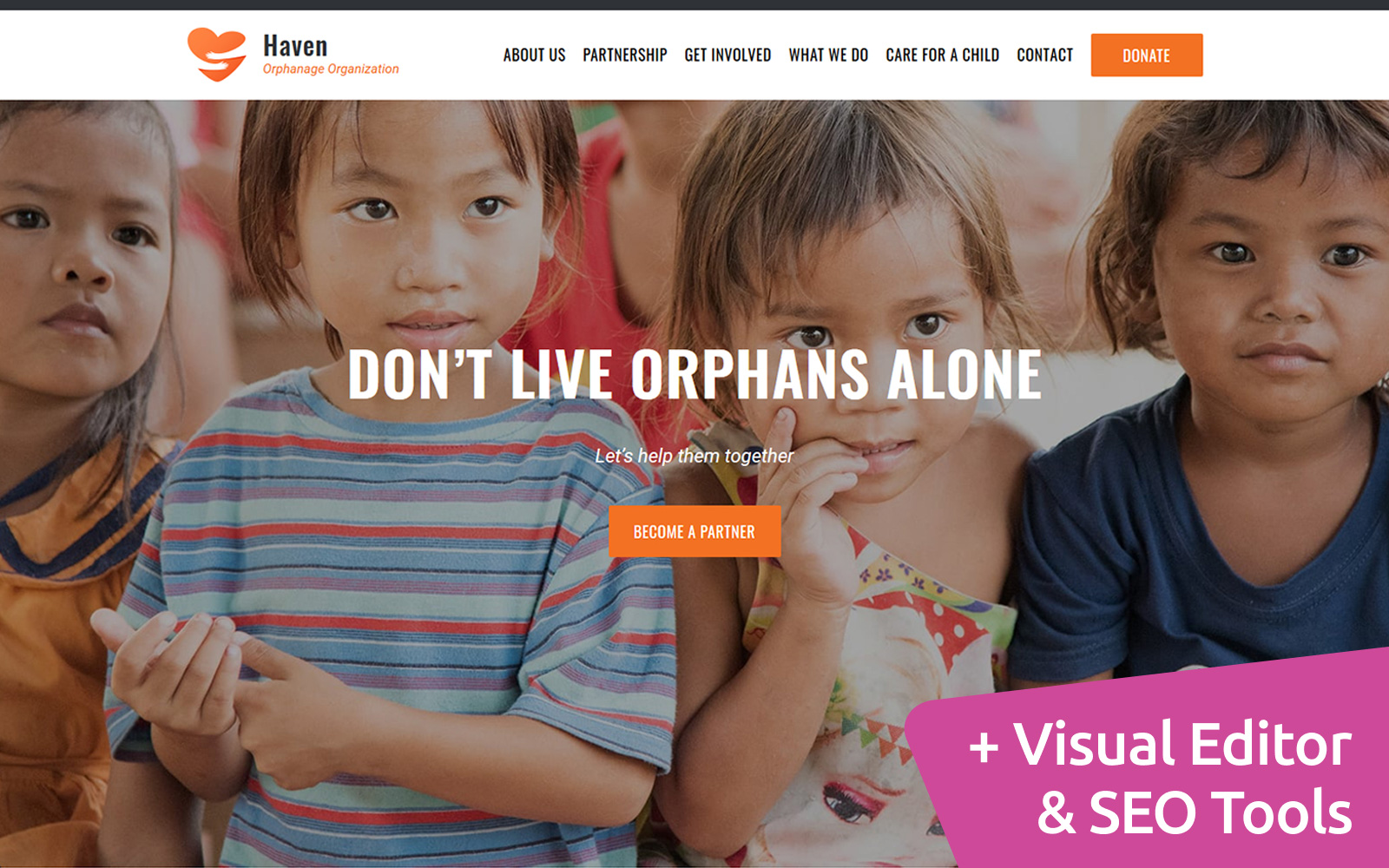 "Plantilla Moto CMS 3 ""Haven - Orphanage Organization"" #89465"