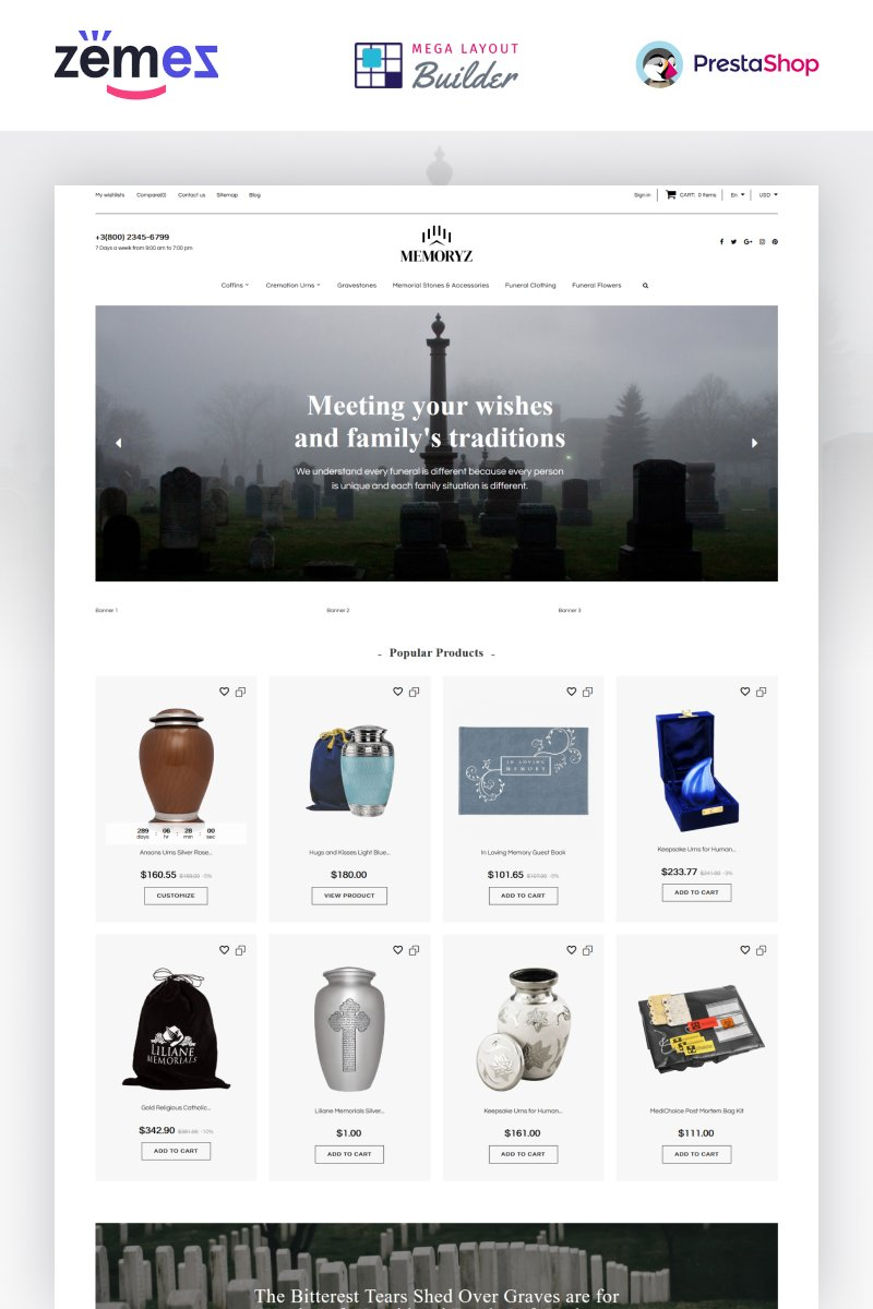 Responsivt MemoryZ  - Funeral Service Online PrestaShop-tema #89400