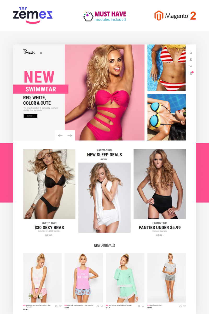 "Tema Magento ""Bowitus - Lingerie Shop Website"" #89401"