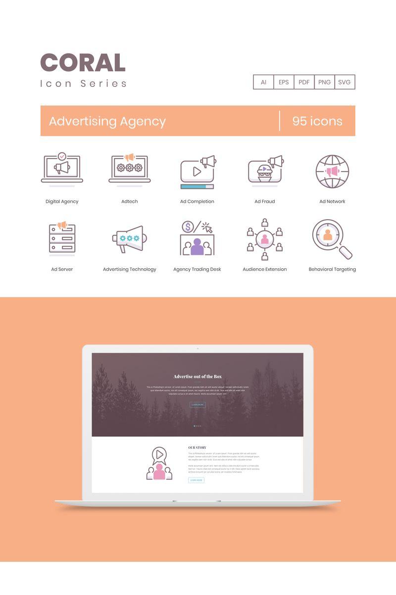 """""""95 Advertising Agency Icons - Coral Series"""" Iconset template №89531"""