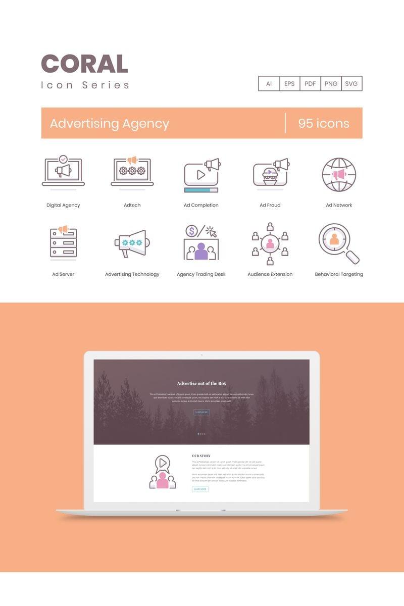 95 Advertising Agency Icons - Coral Series Ikon csomag sablon 89531
