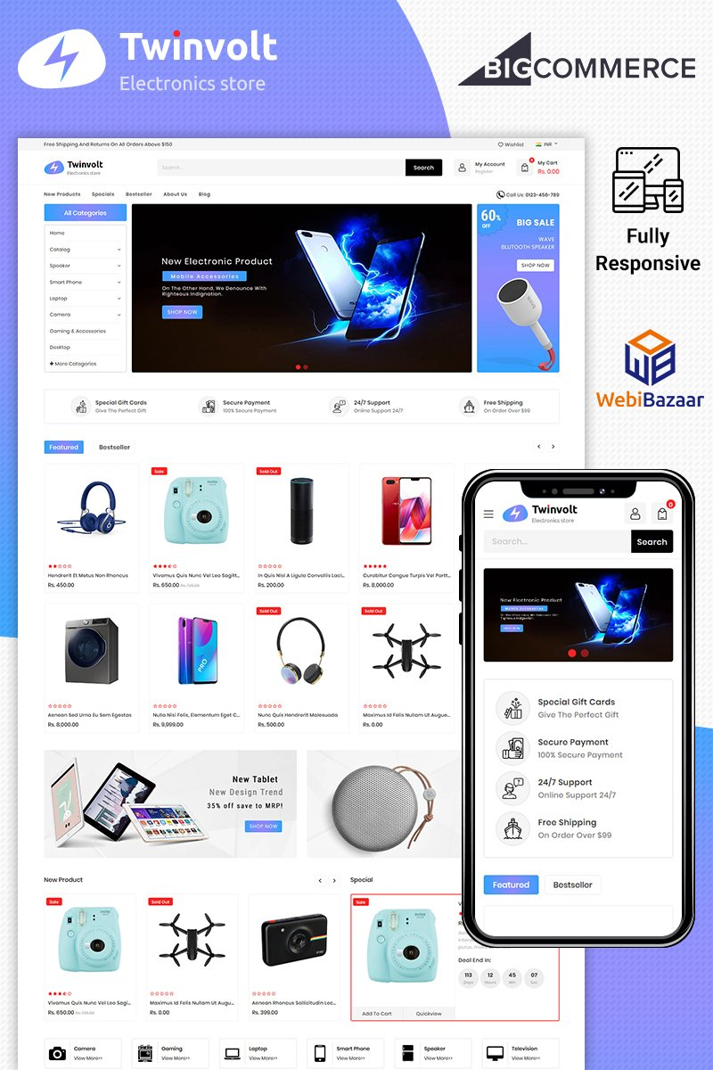"BigCommerce Theme namens ""Twinvolt - Multipurpose Stencil"" #89586"