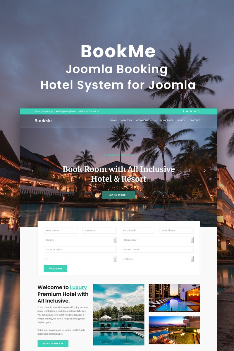 """Booking Hotel-Motel-Villa"" - адаптивний Joomla шаблон №89588"