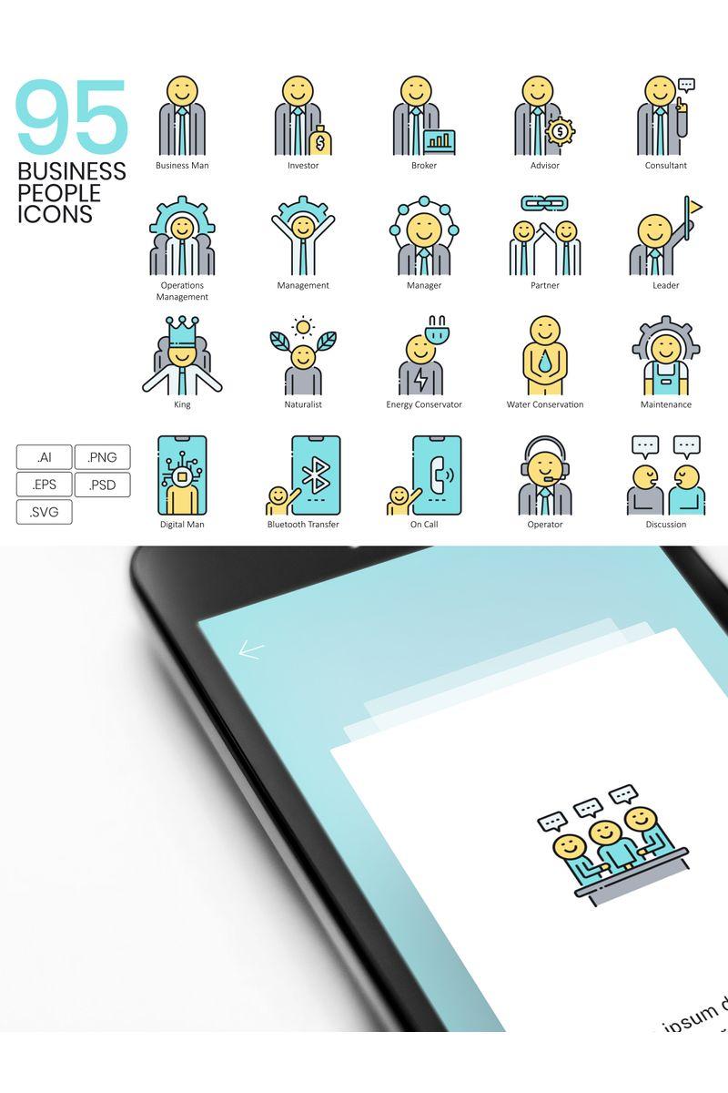 95 Business People Icons - Aqua Series Ikon csomag sablon 89533 - képernyőkép