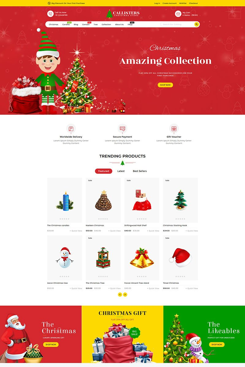 """Callisters Gift Store"" Responsive Shopify Thema №89584"