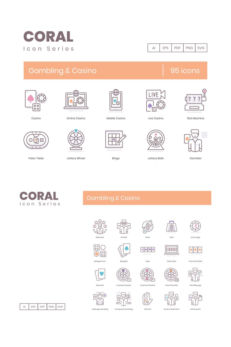 """""""95 Casino Icons - Coral Series"""" Iconset template №89534"""