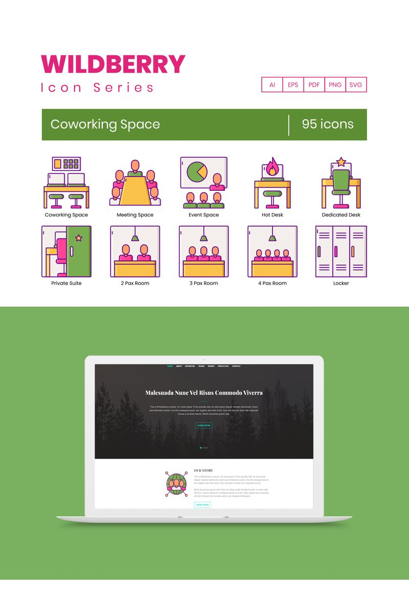 """""""95 Coworking Space Icons - Wildberry Series"""" Iconset template №89528"""