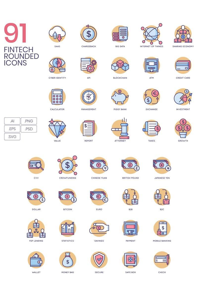 """91 Fintech Icons - Butterscotch Series"" Iconset template №89537"