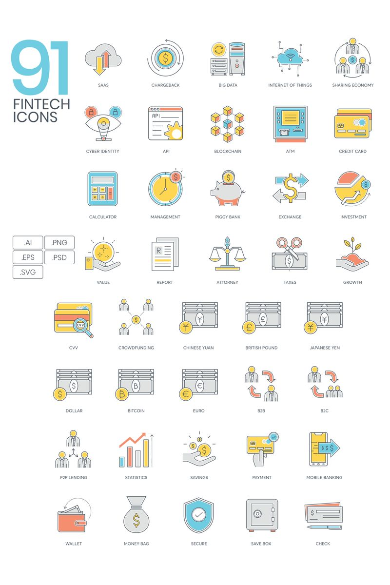 """""""91 Fintech Icons - ColorLine Series"""" Iconset template №89535"""
