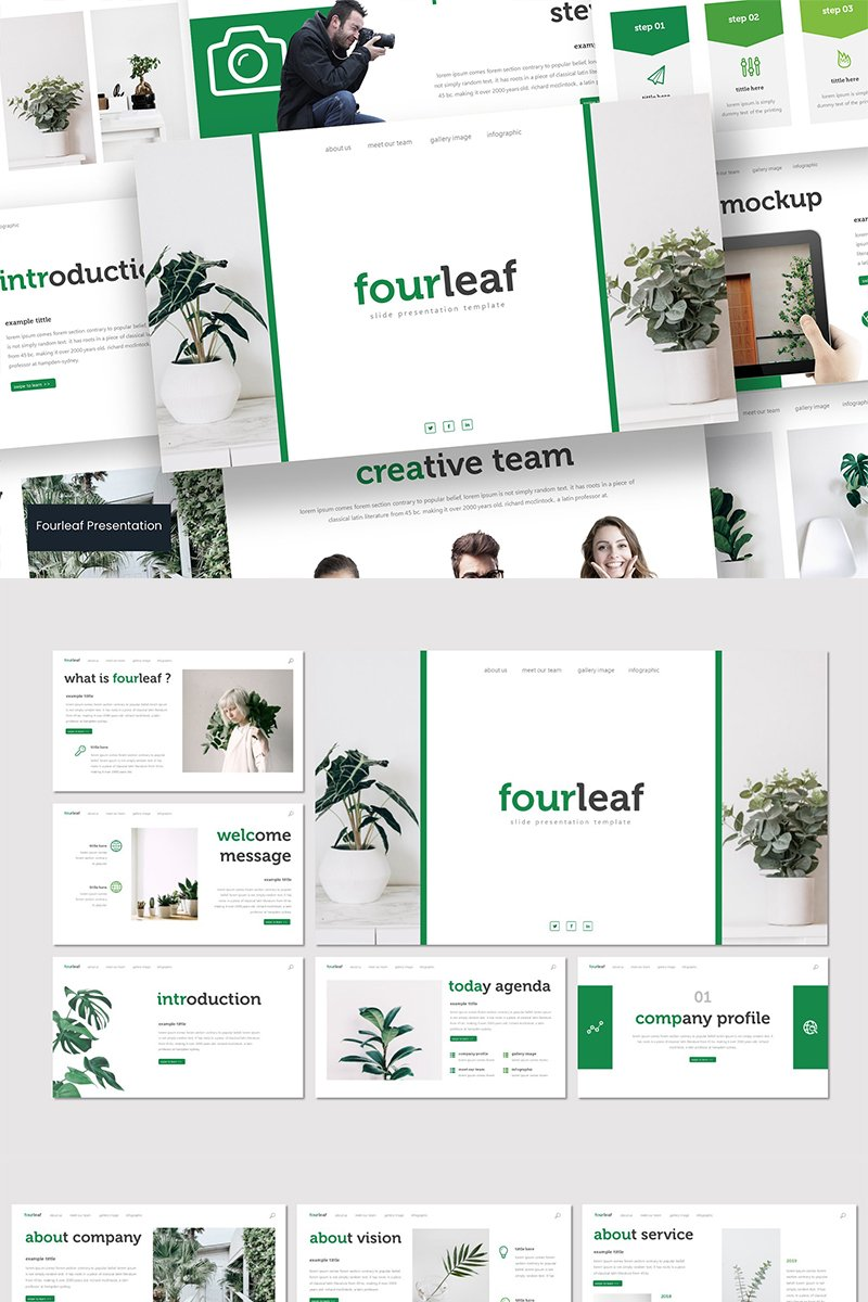 """Fourleaf"" modèle PowerPoint  #89581"