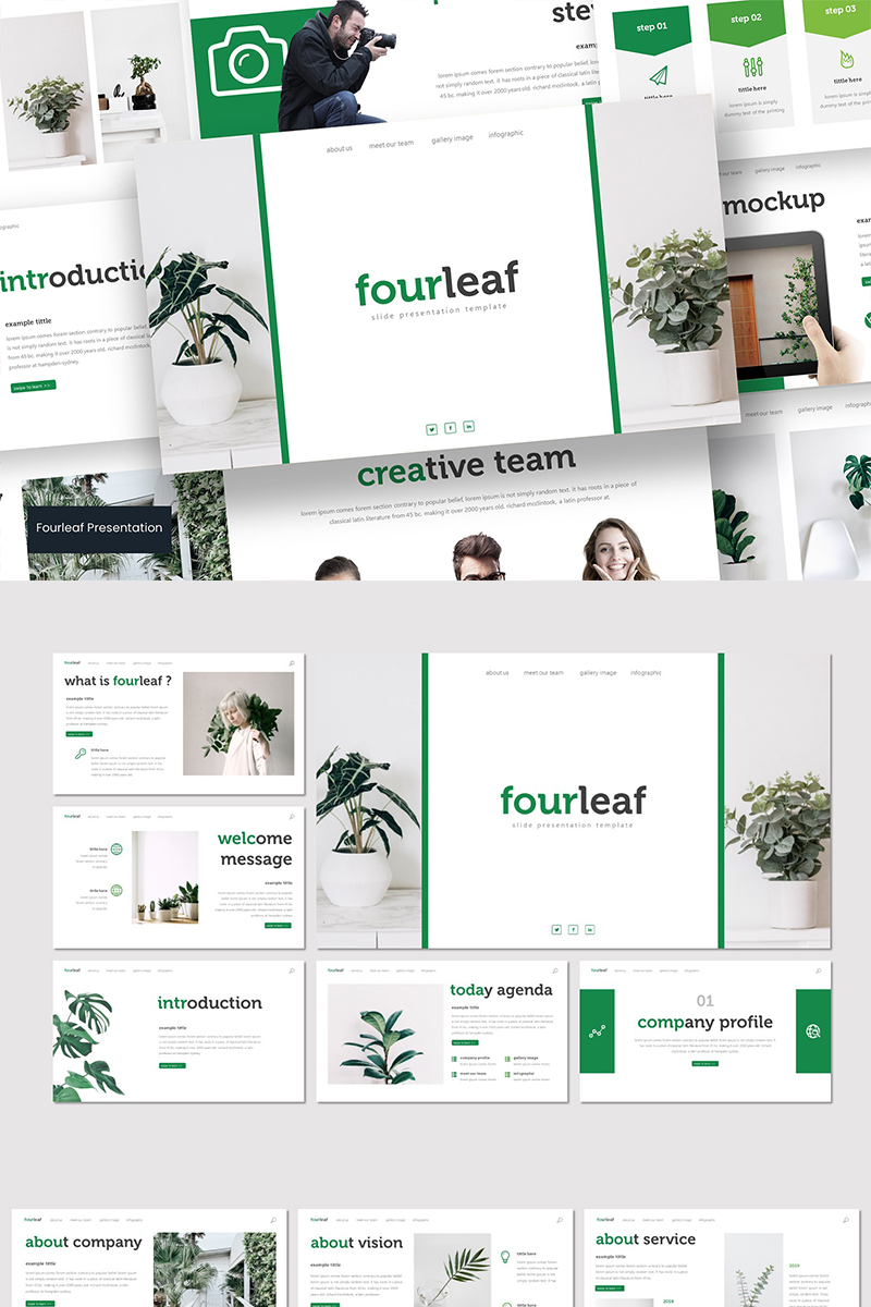 """Fourleaf"" PowerPoint Template №89581"