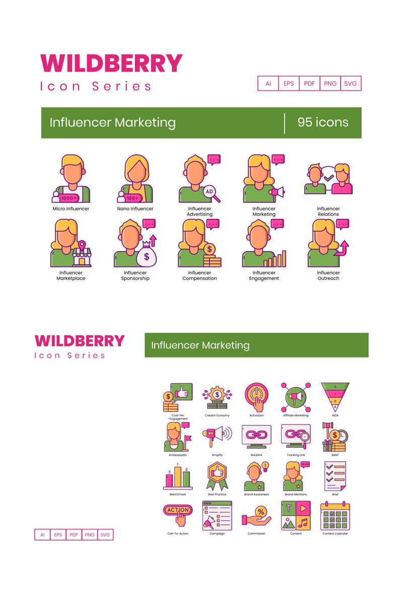 """""""95 Influencer Marketing Icons - Wildberry Series"""" Iconset template №89529"""