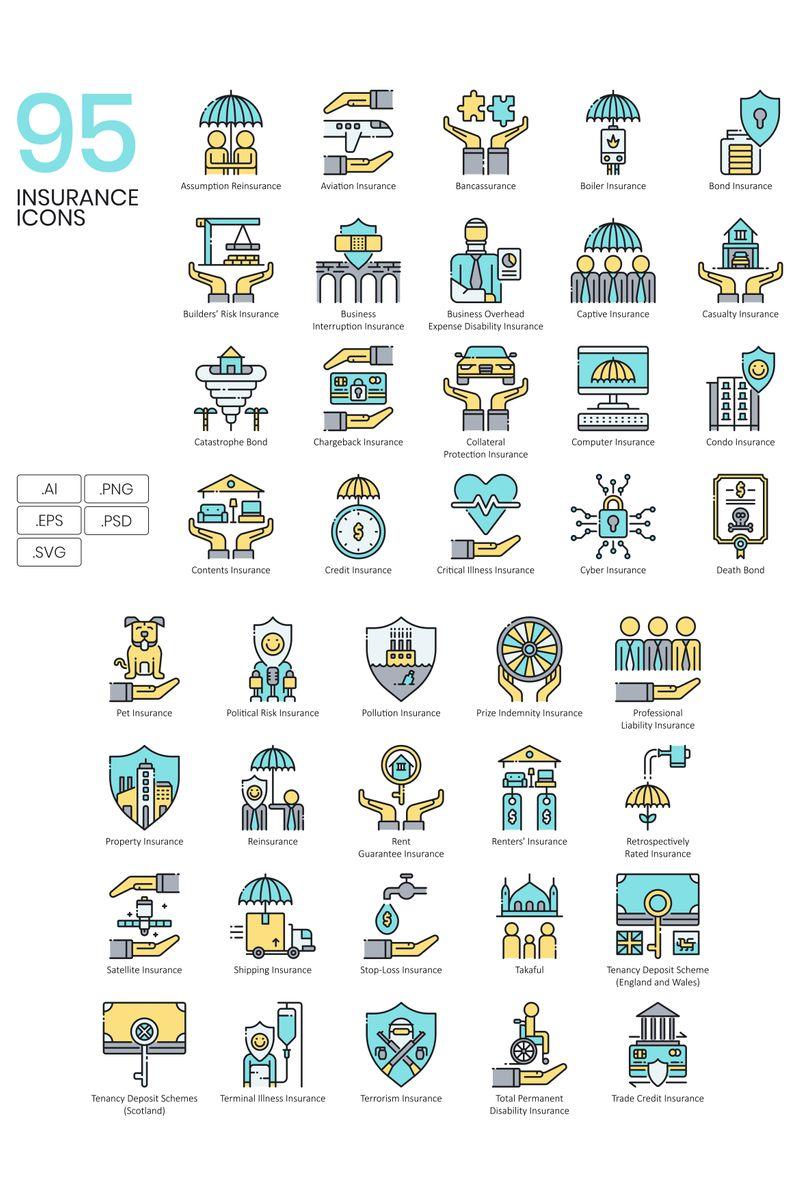 """95 Insurance Icons - Aqua Series"" Iconset template №89526"